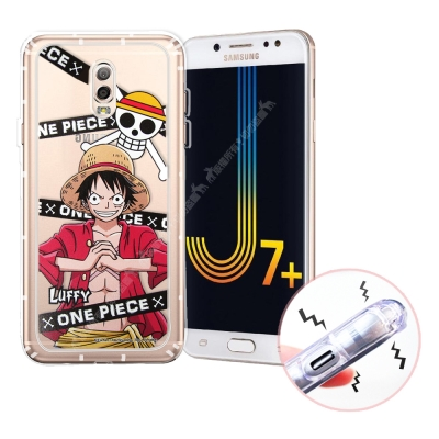 航海王 Samsung J7+/J7 Plus 透明軟式空壓殼(封鎖魯夫)
