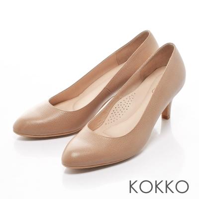 KOKKO都會粉領素面真皮高跟鞋駝