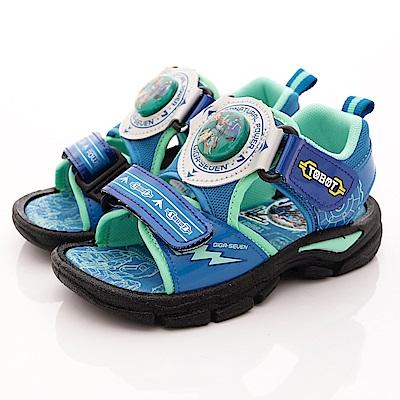 TOBOT童鞋 機器戰士電燈涼鞋款 EI6616藍(中小童段)