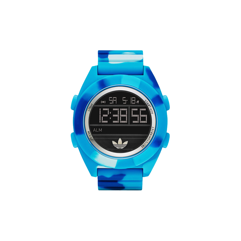 adidas野戰遊戲迷彩冷光電子腕錶-迷彩藍52mm