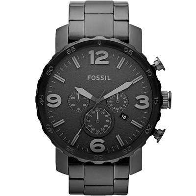 FOSSIL捍衛戰警大錶款三眼計時腕錶-IP黑/50mm