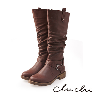 Chichi 完美比例 質感雙扣環側拉鍊長靴*咖啡色