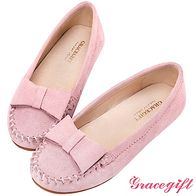 Grace gift-真皮立體蝴蝶結莫卡辛鞋 粉