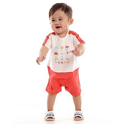 愛的世界 MYBABY 純棉圓領短袖連身褲-紅/6M~2歲