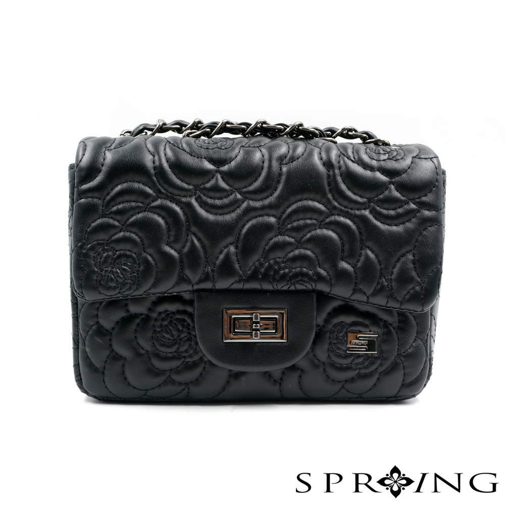 SPRING-山茶花刺繡鍊帶小方包(黑)
