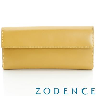ZODENCE-繽紛牛皮系雙層推釦長夾-閃亮黃