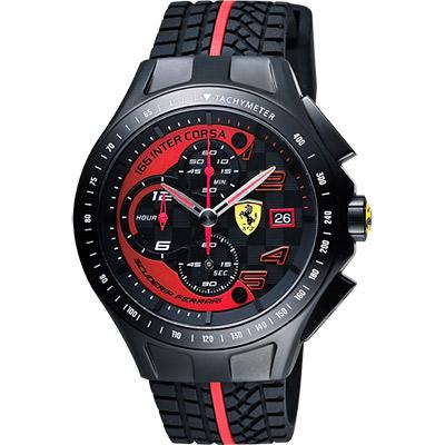 Scuderia Ferrari 法拉利 Race Day 計時手錶-黑/44mm