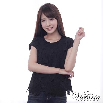Victoria 質感花朵蕾絲落肩T-女-黑色