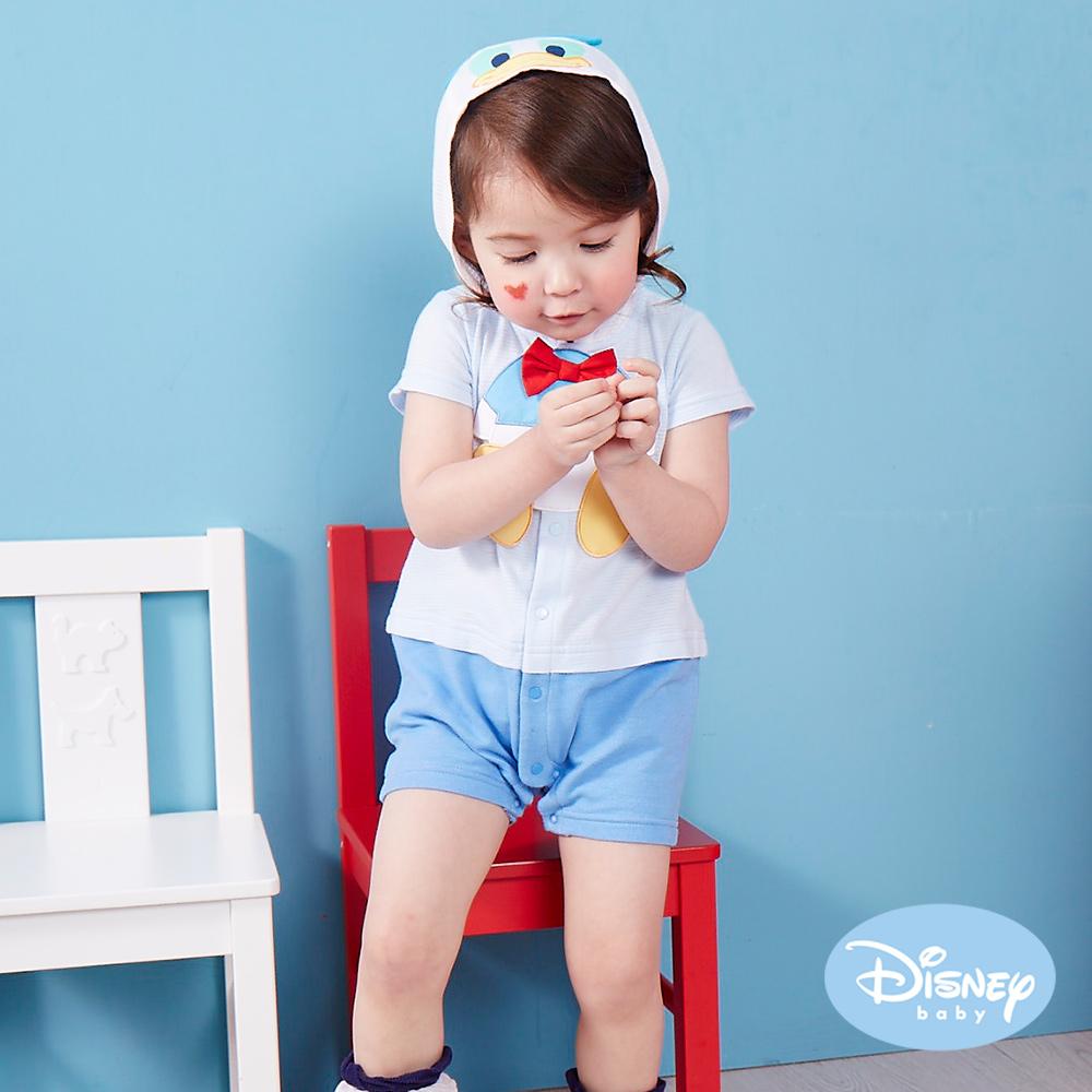 Disney Baby連帽唐老鴨造型連身裝淺藍