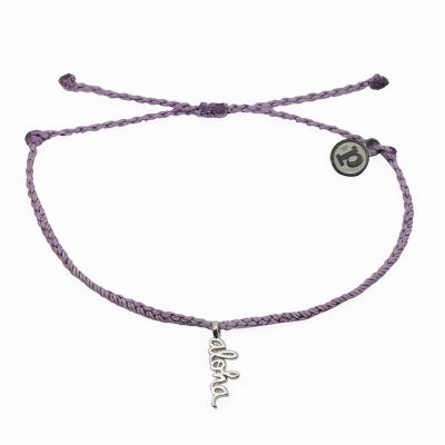 Pura Vida 美國手工 銀色ALOHA 灰紫色臘線可調式手鍊防水衝浪手繩手鍊