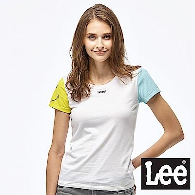 LEE x SMILY聯名拼接短袖圓領TEE-女款-白