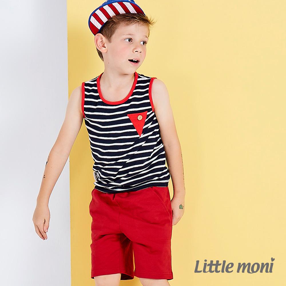 Little moni 街頭時尚五分短褲 紅色