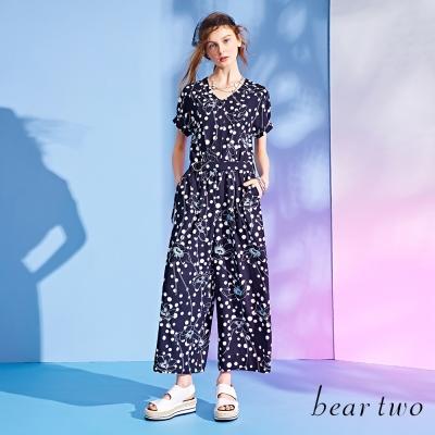 bear-two波爾卡印花立體剪裁連身褲-黑色
