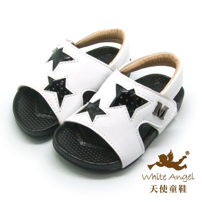 天使童鞋-C2410 小M星星款涼鞋(小童)-白