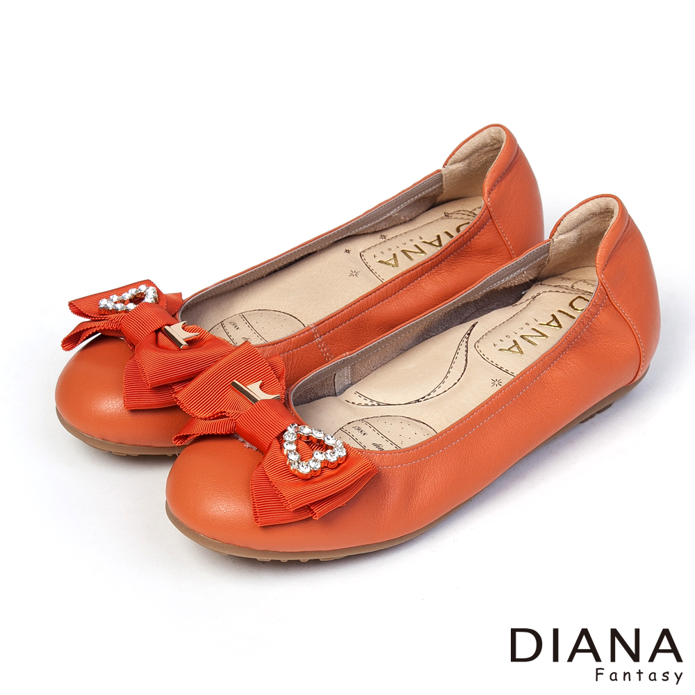 DIANA 超厚切香水粉撲款--心之鑰蝴蝶結真皮平底鞋-橘