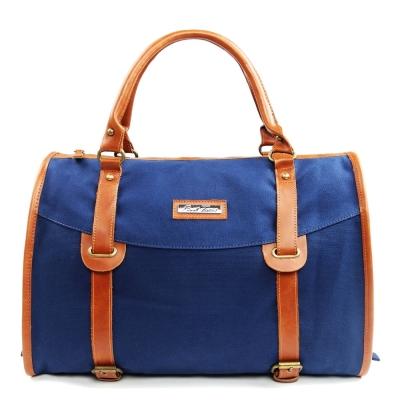 韓式作風-英倫金屬釦環皮革拼接手提包-藍色