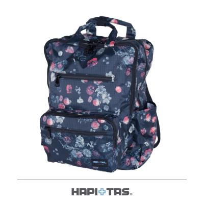 【HAPI+TAS】經典花朵折疊手提後背包-黑色