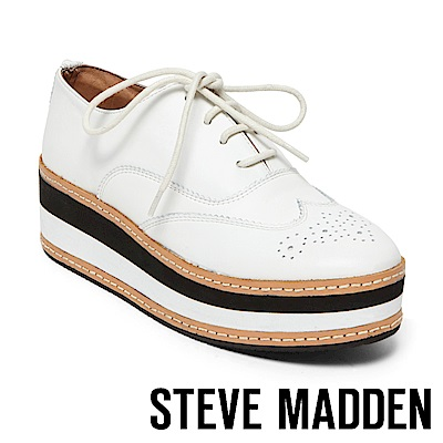 STEVE MADDEN-GRECO 綁帶厚底牛津鞋-白色