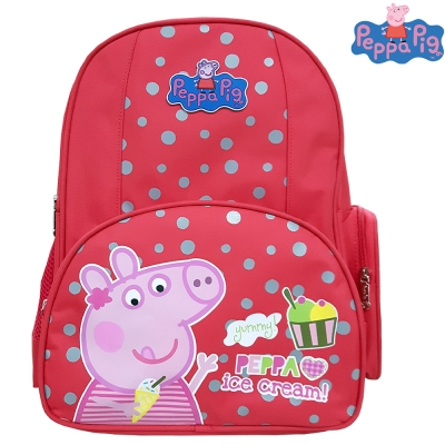 【Peppa Pig 粉紅豬】佩佩豬-喬治護脊書包192C(梅紅_冰淇淋_PP-5739)