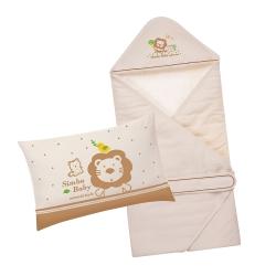 小獅王辛巴 大地系有機棉舒適呵護二件組(包巾+枕)
