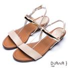 DIANA 極簡韓風--金屬飾片點綴真皮楔型涼鞋 –淺卡其