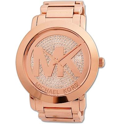 MICHAEL KORS MK 耀眼珍鑽玫瑰金大LOGO時尚不鏽鋼腕錶-45mm