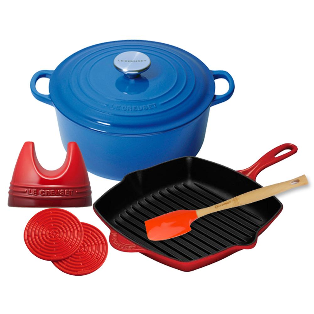 LE CREUSET 圓鐵鍋20cm + 單柄方型烤盤20cm + 三件組