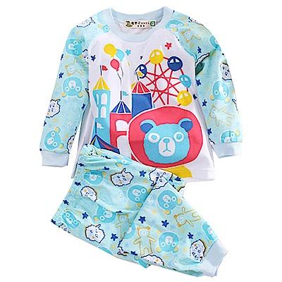 藍熊印花薄長袖居家套裝 藍 k50635 魔法Baby