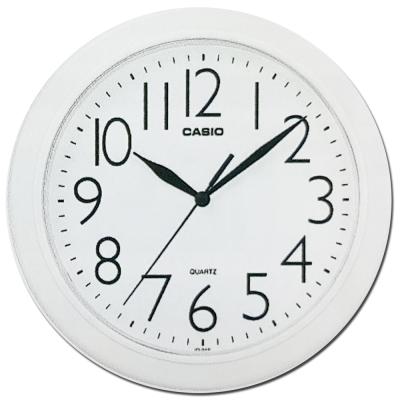 CASIO 流線大方指針圓形掛鐘(IQ-01S-7)-白/24.5cm