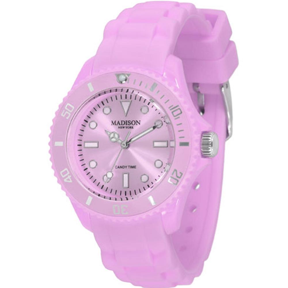 Madison NY Candy Time Mini玩色圓點系列腕錶-香檳紫/35mm