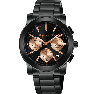 agnes b. 純粹時尚 三眼計時腕錶(BT3031X1)-鍍黑/38mm