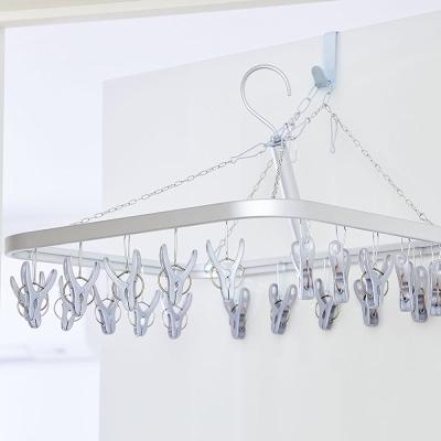 日本AISEN變身機能鋁合金框架20夾曬衣架