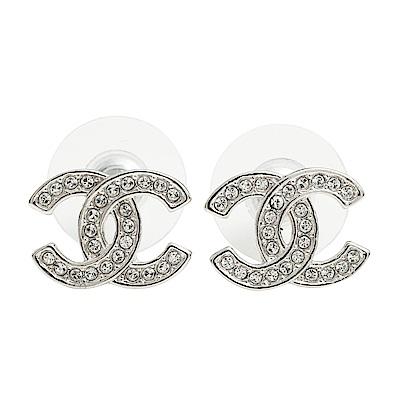 CHANEL-銀色水鑽小款穿式耳環