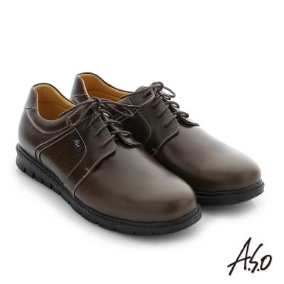 A.S.O 輕量抗震 油感牛皮綁帶奈米紳士休閒鞋 橄欖綠色