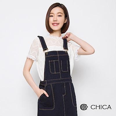 CHICA 復古典雅透膚蕾絲設計上衣(1色)