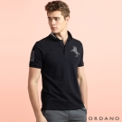 GIORDANO 男裝拿破崙刺繡彈性POLO衫- 48 標誌黑