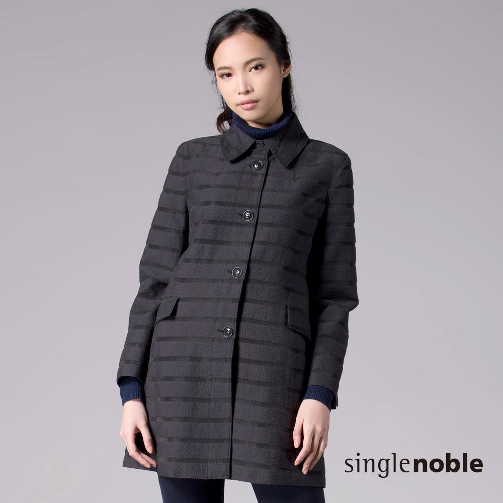 獨身貴族 抽象壓紋線條長版開釦大衣(2色)