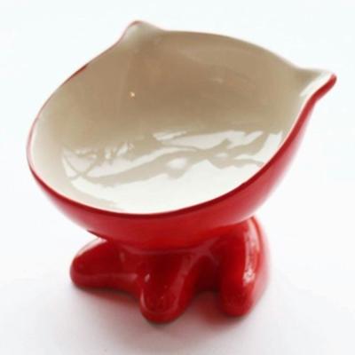 ViVi Pet 可愛小Q斜面陶瓷碗-貓咪造型 紅色