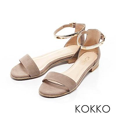 KOKKO-巴黎金屬繫踝一字帶平底涼鞋-溫柔灰
