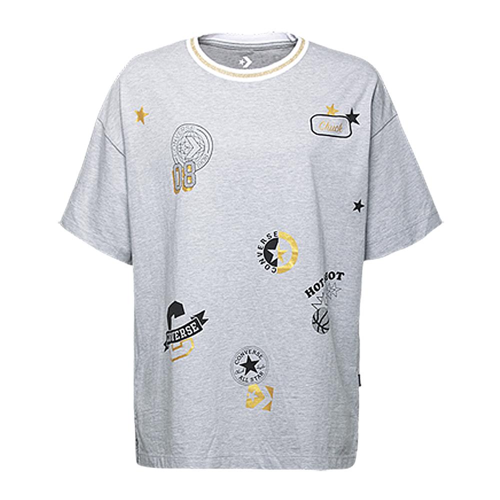 CONVERSE-女休閒短T恤10006031-A02-灰