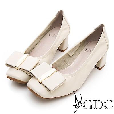GDC-真皮特殊造型大蝴蝶結質感粗跟鞋-米色