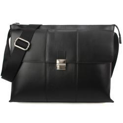 Calvin Klein 素面LOGO壓紋斜背公事包-黑色