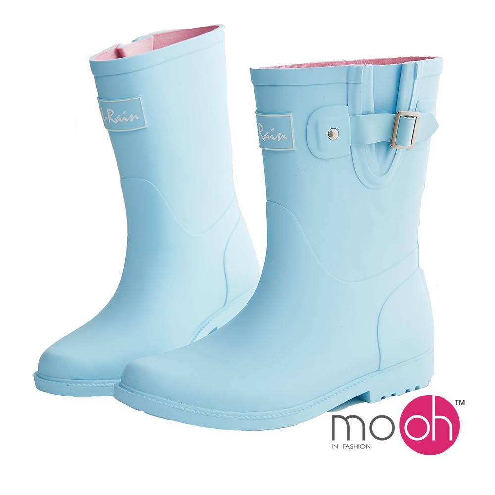 mo.oh 愛雨天-素面皮帶搭扣中筒雨鞋-藍色