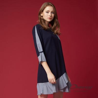OUWEY歐薇 率性休閒剪接條紋洋裝(藍)