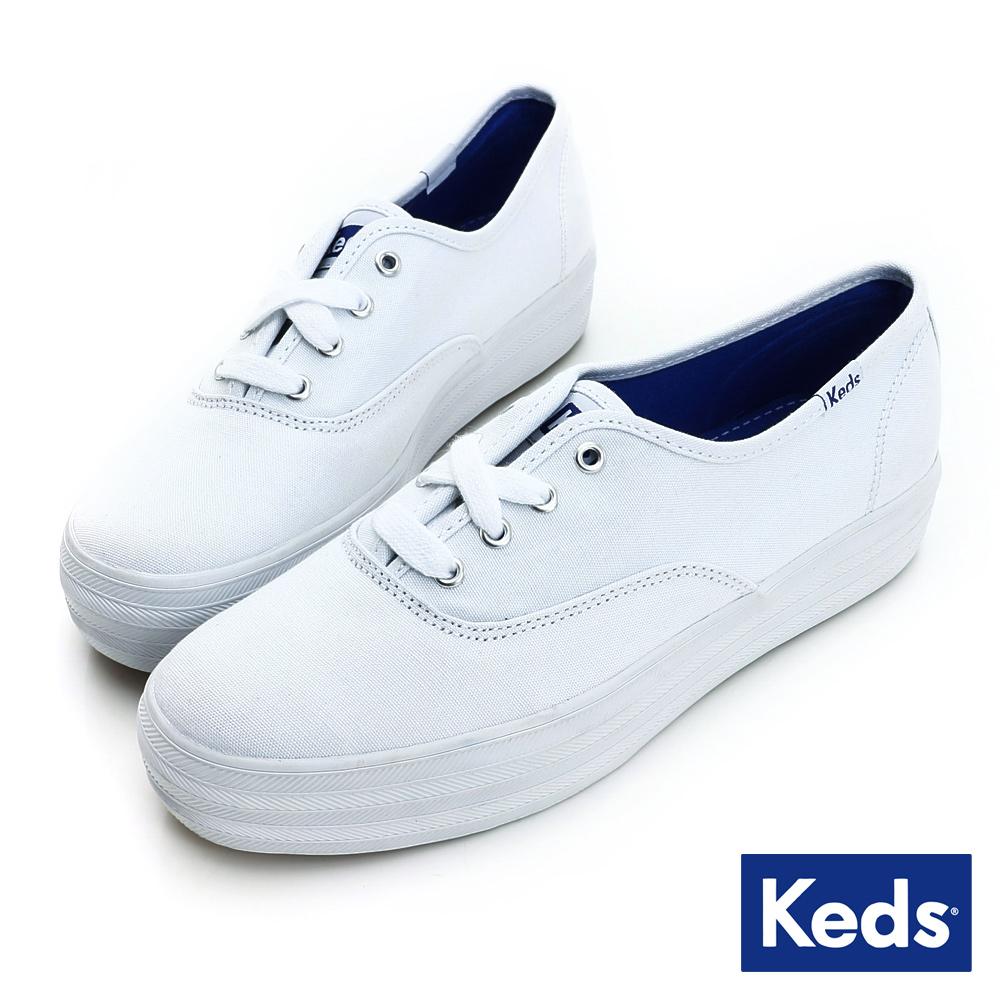 Keds 品牌經典厚底綁帶休閒鞋-白色