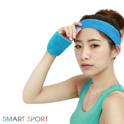 SMART SPORT 台灣製造100%純棉運動頭帶腕帶組-素色款2+2(天空藍)-快速