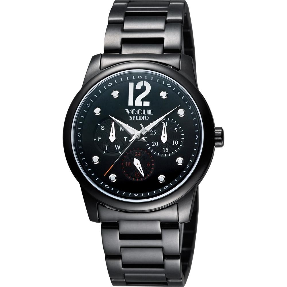 VOGUE 都會時尚藍寶石日曆腕錶-IP黑/38mm