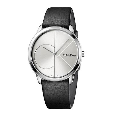 CK  CALVIN KLEIN Minimal 系列 cK Logo 銀色皮革手錶-40mm