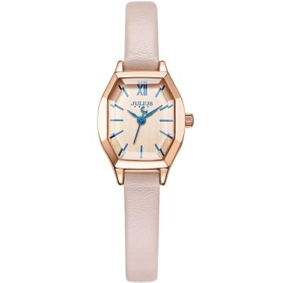 JULIUS聚利時 橡樹風情立體切割鏡面皮帶錶-玫瑰金x氣質粉/20.5X18mm
