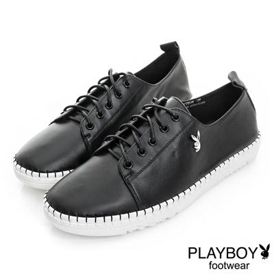 PLAYBOY 極簡時尚 素面真皮綁帶休閒鞋-黑(女)